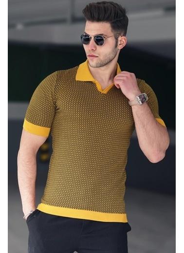 Madmext   Polo Yaka Erkek Tişört 5077 Hardal